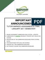 TMA Announcements
