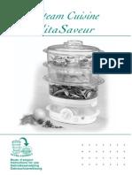 Seb Vitasaveur steam cuisine manual
