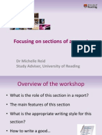 Slides Focusing on Sections of a Report