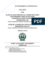 Mtech Electronics and Comm Engg Specialization Comm Systems Semester i to IV syllabus GNDU