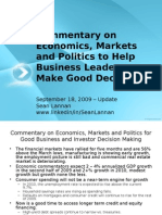 Commentary on Economics - Markets - Politics by Sean Lannan 9-18-09