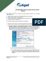 Puesta en marcha de Aspel-NOI 7 0 para usuarios de una versión anterior