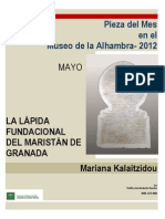Kalaitzidou (Mariana)_La lápida fundacional del maristán de Granada