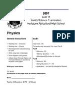 Physics Preliminary Yearly Exam 2007