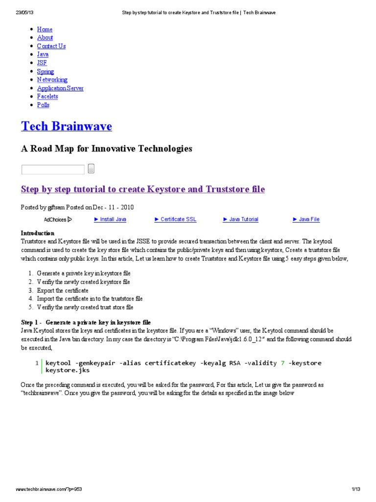 Step by step tutorial to create keystore and truststore file step by step tutorial to create keystore and truststore file tech brainwave public key cryptography public key certificate xflitez Choice Image