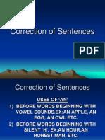Correction of Sentences