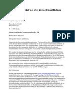 110303_1. Offener Brief an die Verantwortlichen der ITB
