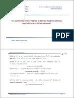 Sección 6.3 Combinaciones lineales, sistemas de generadores y dependencia lineal de vectores.