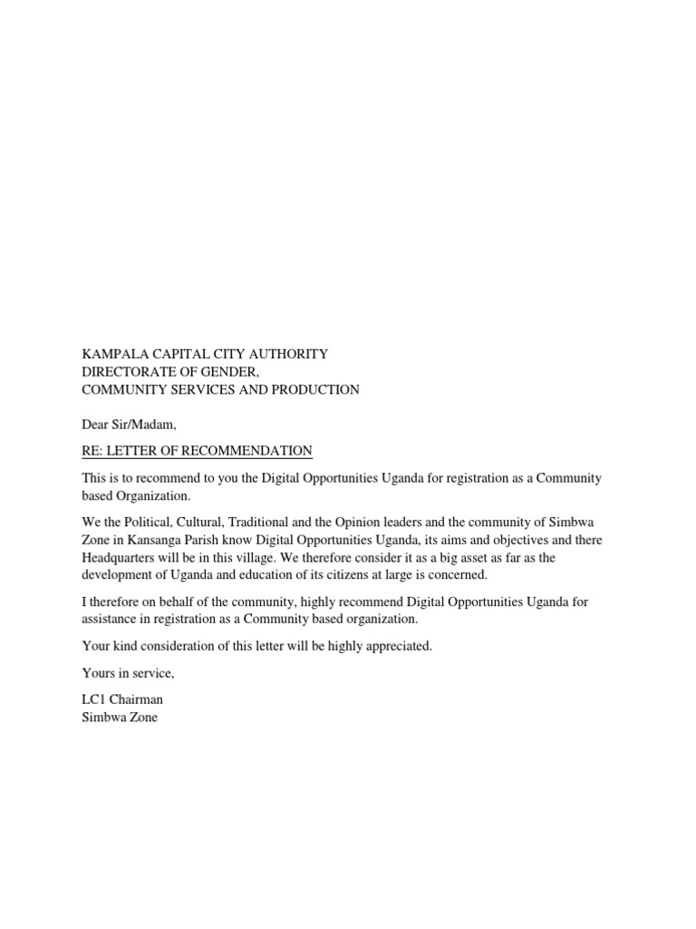 Lc Recommendation Letter To Kcca
