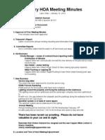 January 2014 HOA Meeting Minutes