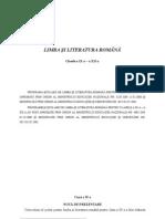 Programa de limba română pentru clasele IX-XII