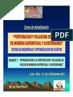Sesión 1 - INTRODUCCION A LA PERFORACION Y VOLADURA DE ROCAS