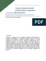 Resumen de temas tratados durante diciembre del 2013 sobre la coyuntura económica de Venezuela