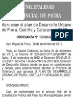 Municipalidad de Piura ORDENANZA N° 122-00-CMPP