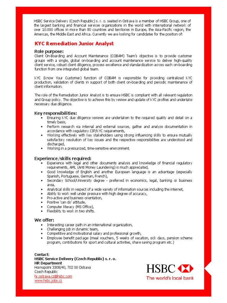 HSBC- KYC Remediation Junior Analyst | Hsbc | Intelligence Analysis