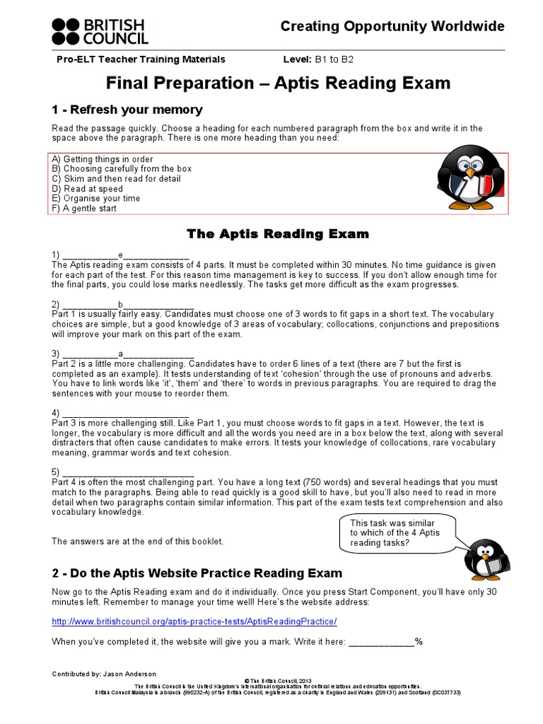 Final Preparation - Aptis Reading Exam Teachers