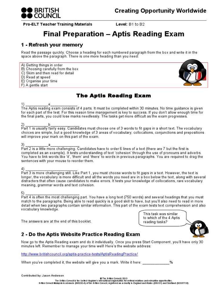 Final Preparation - Aptis Reading Exam Teachers ...