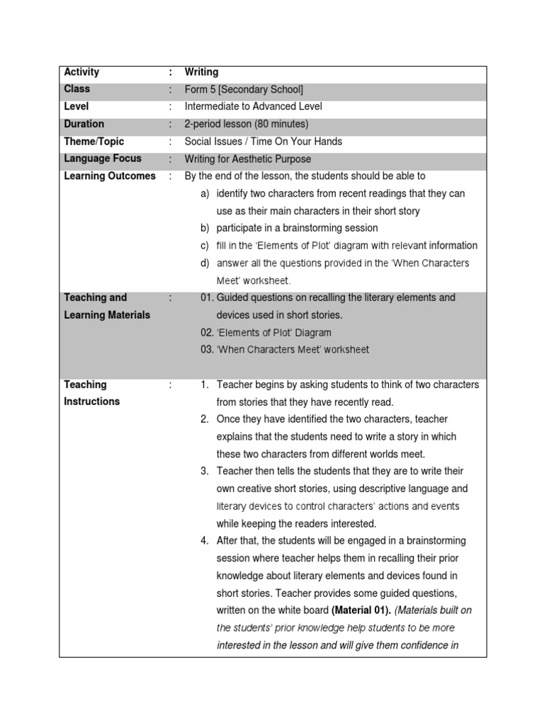 Writing Lesson Plan (Form 5) | Lesson Plan | Teachers