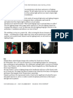lighting design workshop   brochure installation and performance