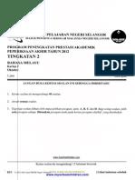 BM K1, 2 Form 2 PAT 2012 Selangor