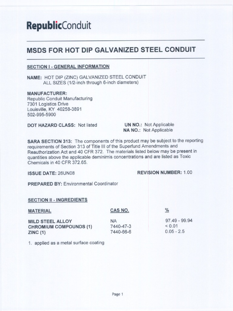 Hot Dip Galvanizing Material Safety Data Sheet Chemistry Materials