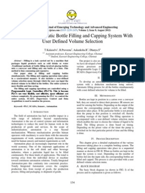 Plc Based Water Bottle Filling And Caping System Programmable Logic Controller Automation
