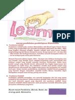 Macam-macam Pendekatan, Model, Metode, Dan Strategi Pembelajaran matematika