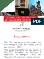 Marginal Fields 2013 - A Brief Guide