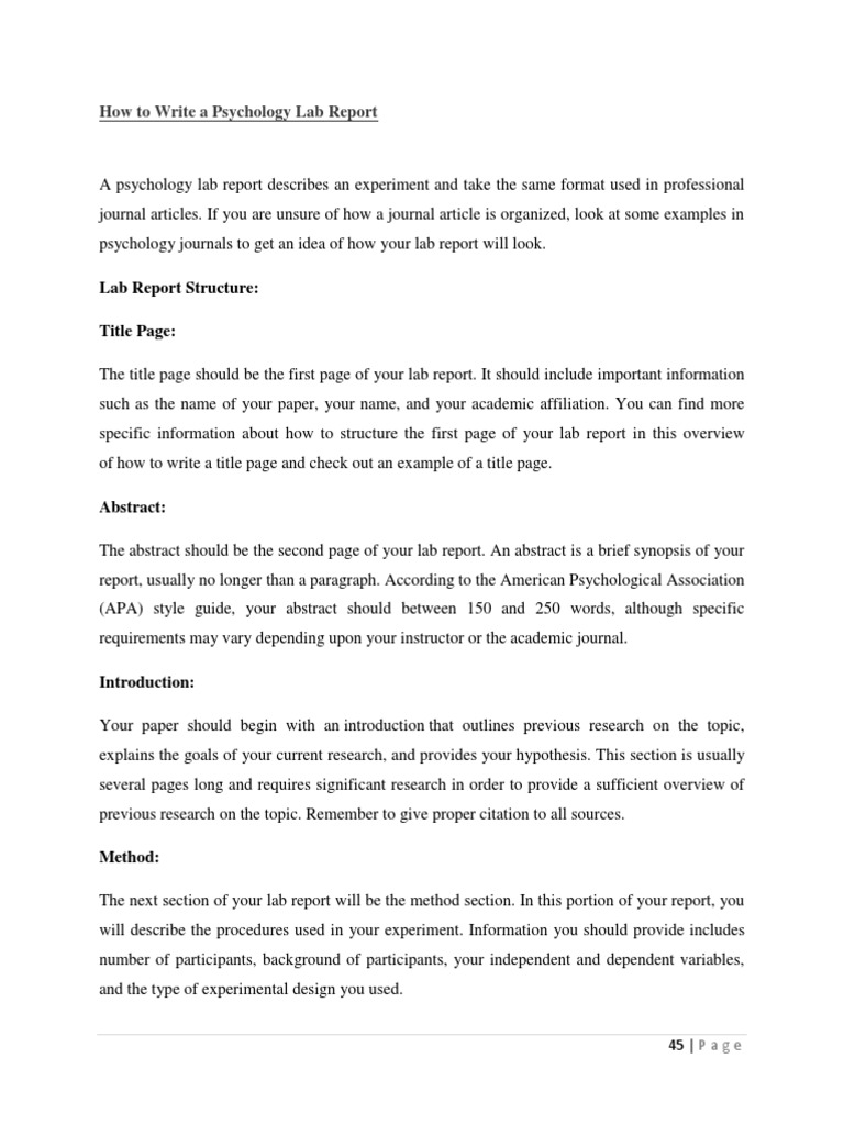 How To Write A Psychology Lab Report  Abstract (Summary)  Experiment