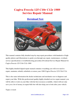 1989 Cagiva Freccia 125 C10r C12r Service Repair Manual PDF | Chevrolet |  Harley Davidson