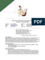 Musc101 syllabus