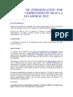 Calculo de Indemnizacion Por Despido Improcedente Tras La Reforma Laboral 2012