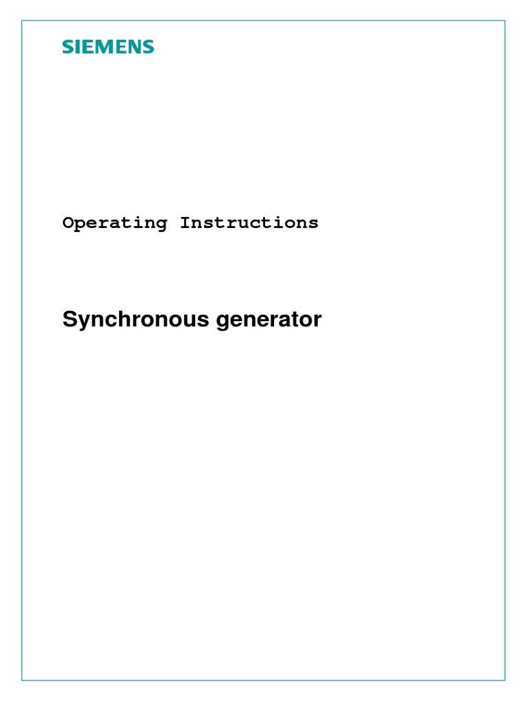 Generator Manual | Bearing (Mechanical) | Physical Quantities