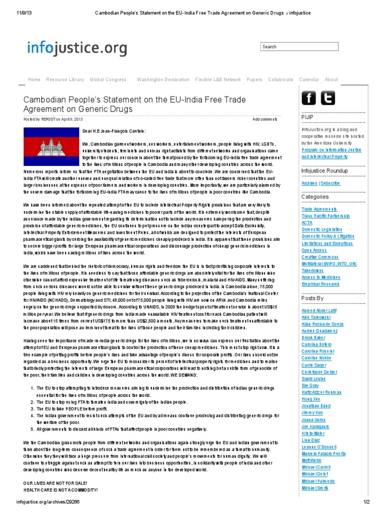 Cambodian Peoples Statement On The Eu India Free Trade Agreement On