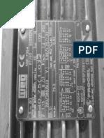 Placa de identificação de motor trifásico