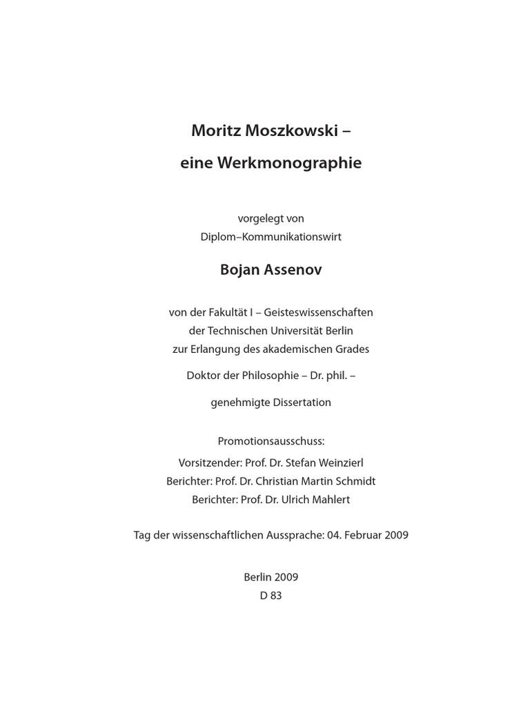 01 moritz moszkowski eine werkmonographie - Eigenhandig Geschriebener Lebenslauf