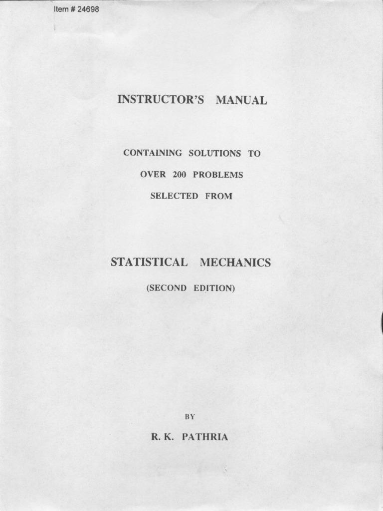 stat mec pathria solutions rh es scribd com Statistical Mechanics PDF kerson huang statistical mechanics solution manual