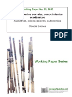 Briones (2013) Conocimientos sociales, conocimientos académicos
