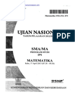 Naskah Soal UN Matematika IPS SMA 2013 Paket 1