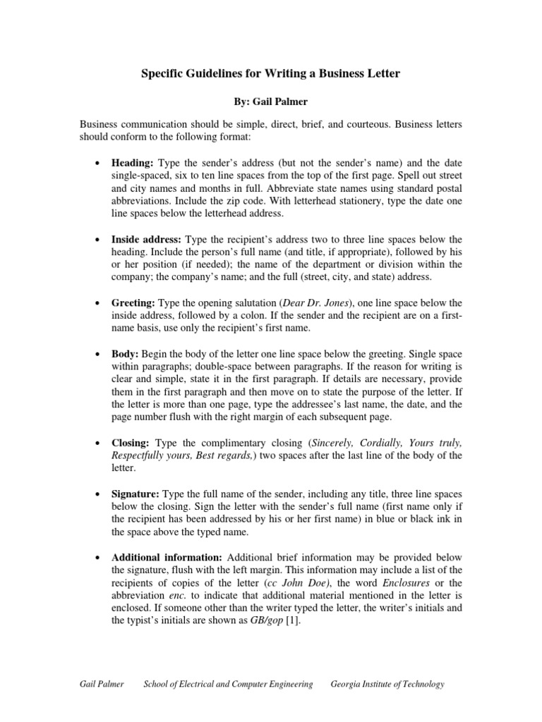 Specific Guidelines For Writing A Business Letter Uss Enterprise