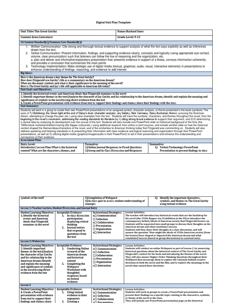 Magnificent Digital Lesson Plan Template Photos - Entry Level Resume ...