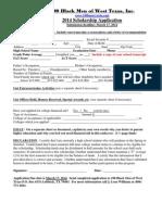 2014 100 Black Men of West Texas Scholarship Application