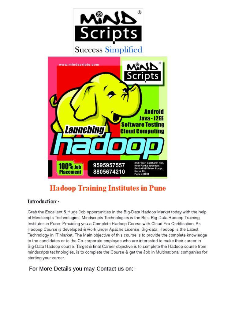 Hadoop Training Institutes In Pune Cloudera Certification Courses