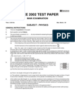 IIT-JEE 2002 Mains Paper With Answer Key