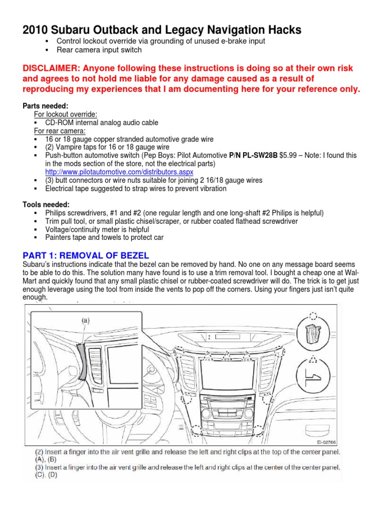 2010 Subaru Outback and Legacy Navigation Hack | Wire