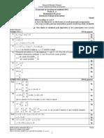 Barem Matematică Filiera teoretică, profilul real, specializarea ştiinţe ale naturii