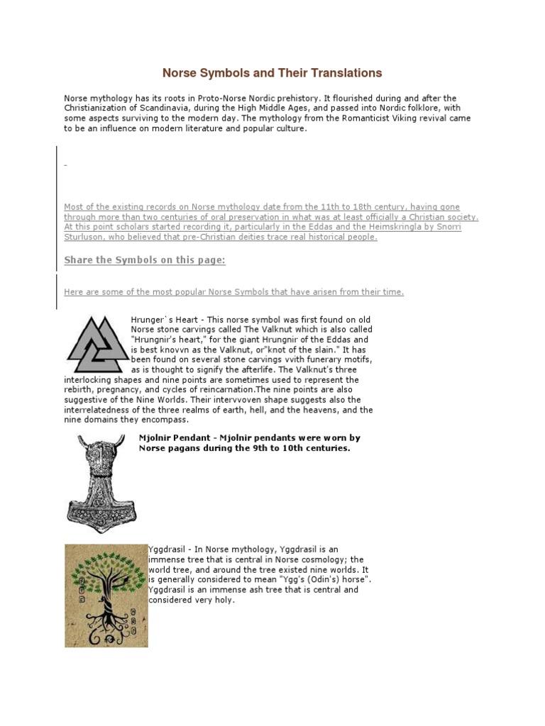 Norse Symbols And Their Translationscx Norse Mythology Viking Age
