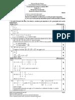 Barem Model Matematica Filiera teoretică, profilul real, specializarea mate-info și  Filiera vocaţională, profilul militar, specializarea mate-info