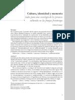 Gilberto Giménez- ART- Cultura identidad y memoria- Materiales para una sociología de los procesos culturales  en las franjas fronterizas- v21n41a1