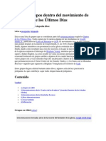 Lista de grupos dentro del movimiento de los Santos de los Últimos Días